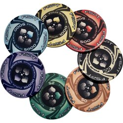 Sample Set The Four Spades  Keramik Pokerchips - alle Werte