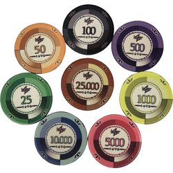 Sample Set Lazar Casino  Keramik Pokerchips - alle Werte