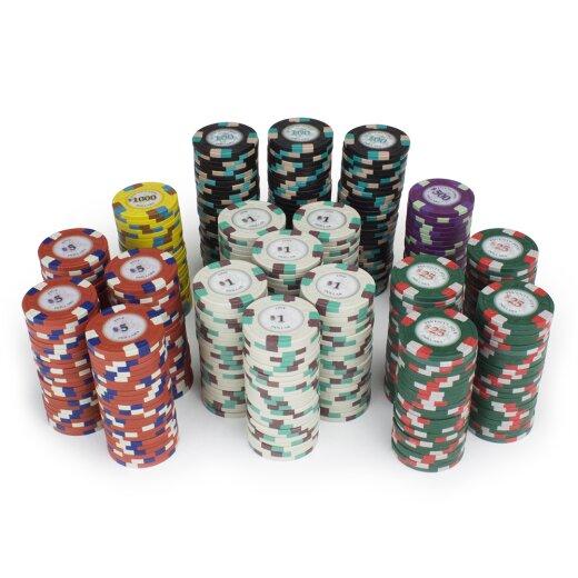 und Au/ßenbereich All-in-One-Brettspiel f/ür Kinder und Erwachsene im Innen Qkiss Texas Holdem Pokerset Pokerchips Set mit 500 Chips Pokerchipspiel mit Layoutmatte